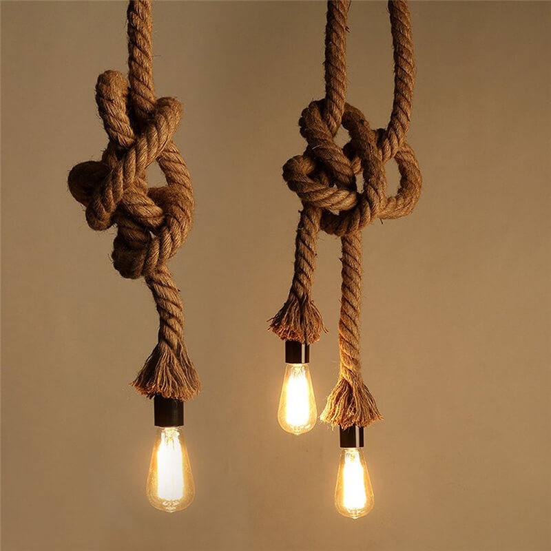 Edison Lamp Rustic Rope Hanging/Pendant E27 Holder, Decorative, Hanging Light Vintage Retro Ceiling Light, Beige Color. 1.2 Meter