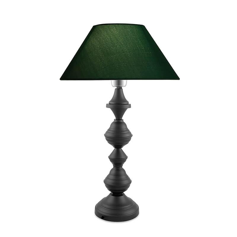 Nordic Waterdrop Matt Black Table Lamp With Green Shade