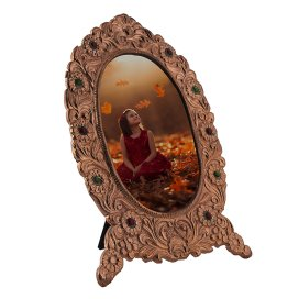 Ornate Metal Oval Copper Photo Frame, Rose Gold