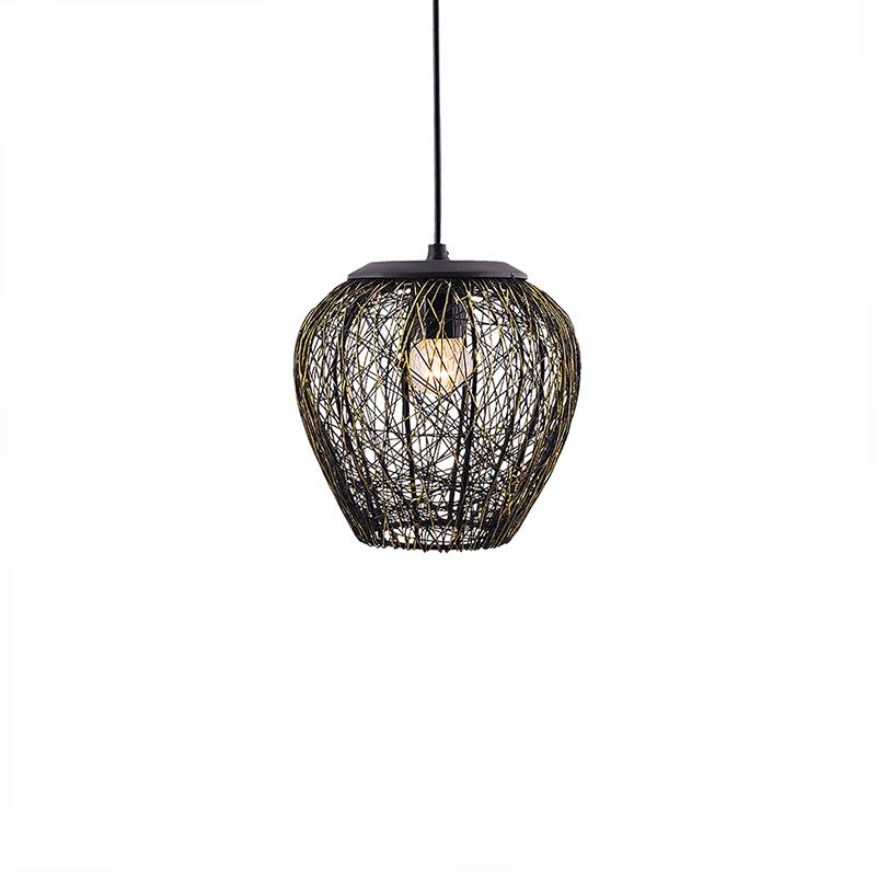 Hanging Black Steel Wire Mesh Pendant, Hanging Light, Lamp
