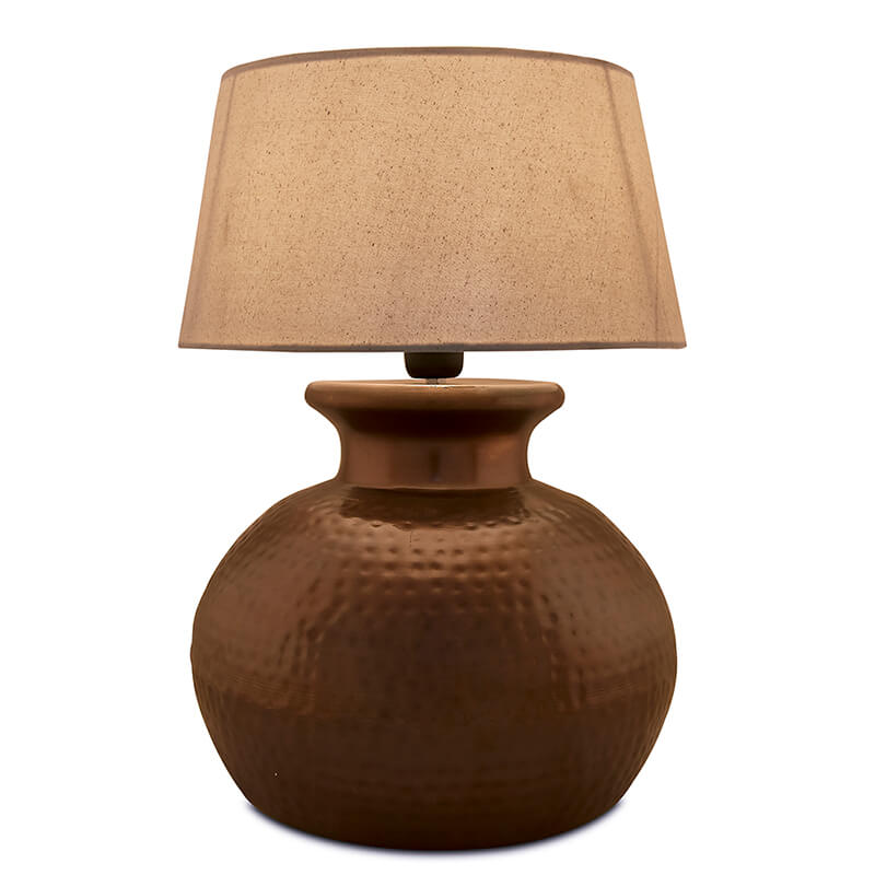 Antique Copper Hammered Pitcher Table Lamp with Khadi Shade