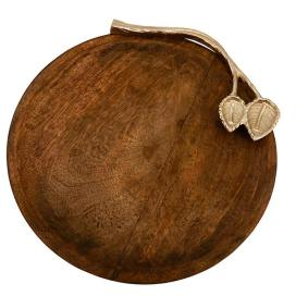 Wooden Round Cheese Platter with Silver Floral Handle, Serving Tray, Snacks and Fruits