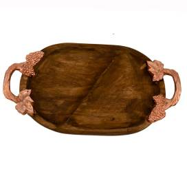 Wooden Oval Compartment Tray with Copper Leaf Handle, Serving Tray, Snacks and Fruits
