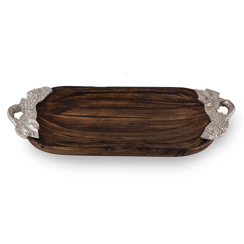 Wooden Small Oval Tray with Silver Leaf Handle, Serving Tray, Snacks and Fruits