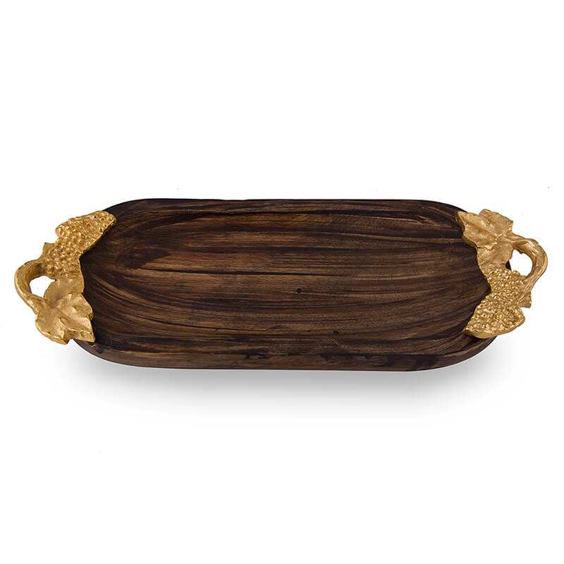 Wooden Small Oval Tray with Golden Leaf Handle, Serving Tray, Snacks and Fruits