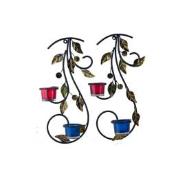 Wall Hanging leafy vine candle stand, Wall Scone with Blue and Red Glass and Candles
