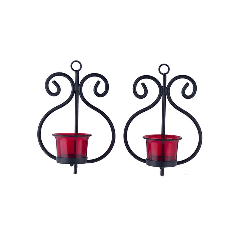 Set of 2 Decorative Wall Sconce/Candle Holder with Red Glass and Free T-light Candles