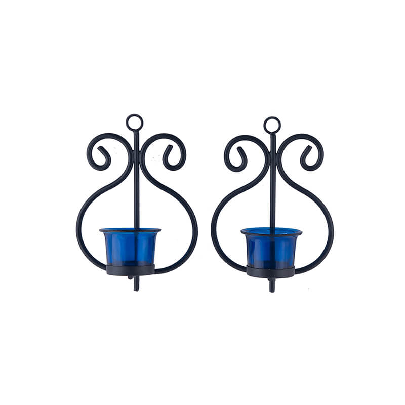 Set of 2 Decorative Wall Sconce/Candle Holder with Blue Glass and Free T-light Candles