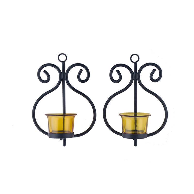 Set of 2 Decorative Wall Sconce/Candle Holder with Yellow Glass and Free T-light Candles
