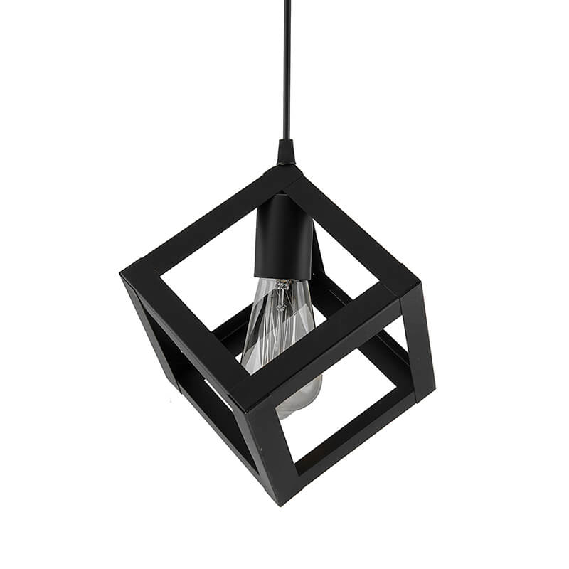 "Edison Filament Hanging Cube 6"", E27 Holder, Decorative, Black, URBAN Retro, Nordic Style, LED/Filament Bulb"
