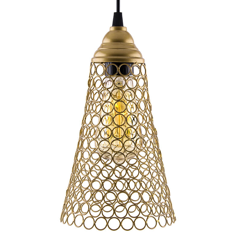 Hanging Golden Steel Cone Light, Hanging Light and Fixture