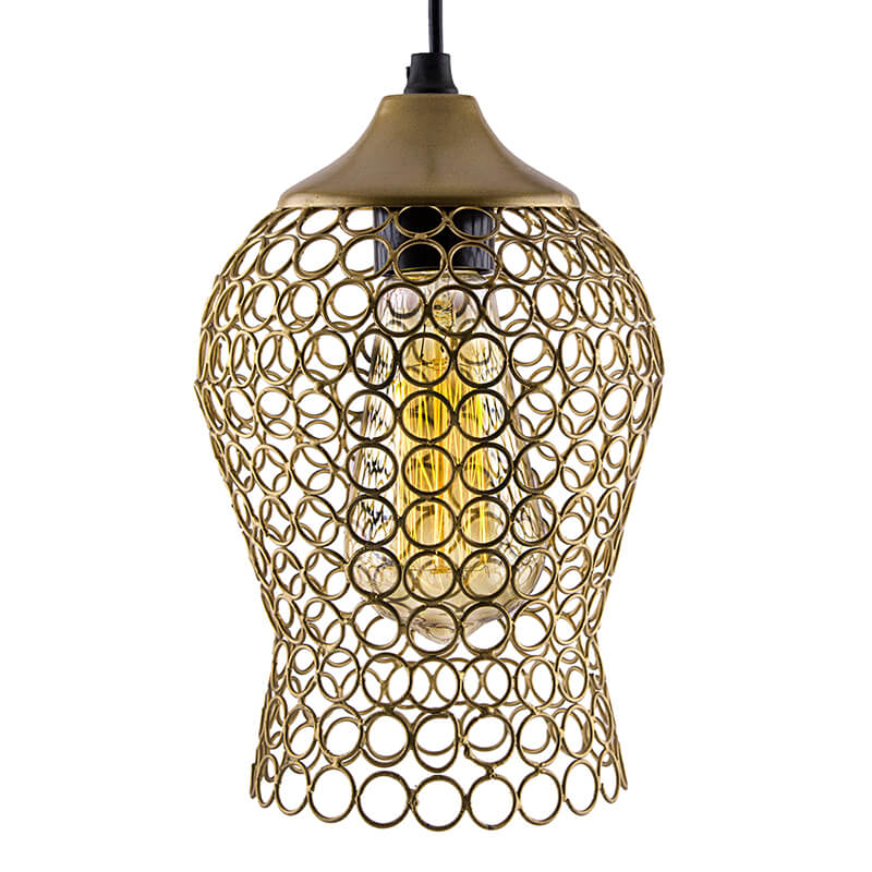 Hanging Golden Steel Light, Hanging Light and Fixture