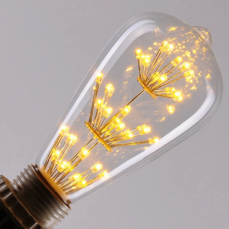 Vintage Edison LED Bulb ST64 Firework Tree Filament Bulb, E27 Lamp Holder, 3W Edison Star Decoration Bulbs