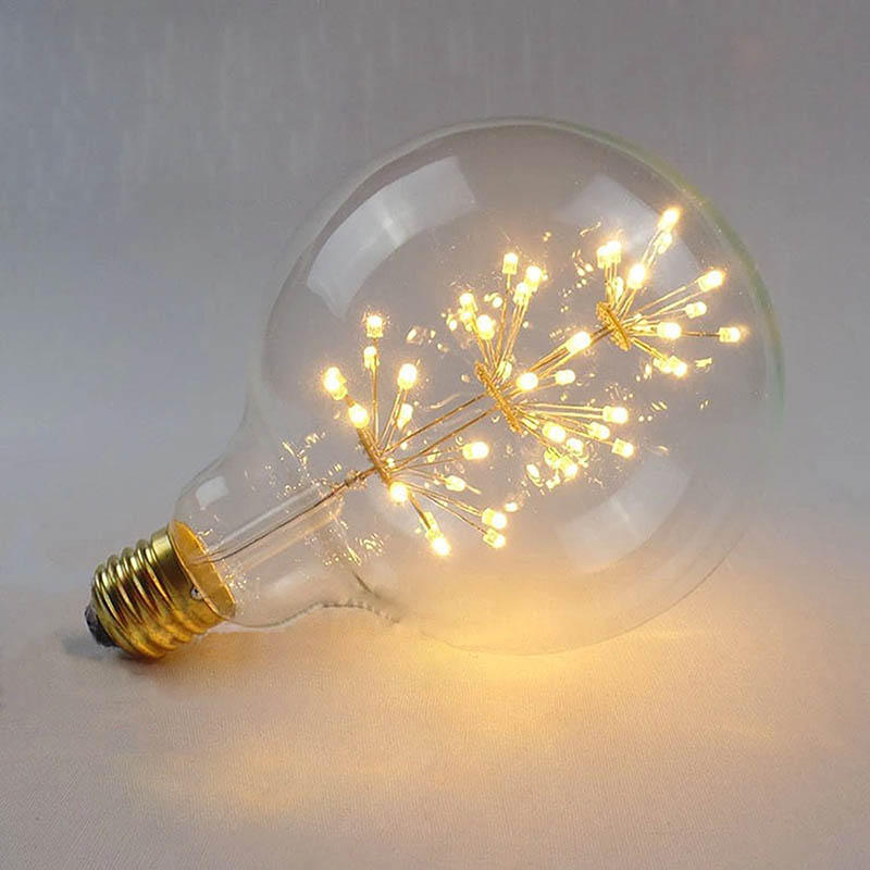Vintage Edison LED Bulb G95 Firework Round Tree Filament Bulb, E27 Lamp Holder, 3W Edison Star Decoration Bulbs