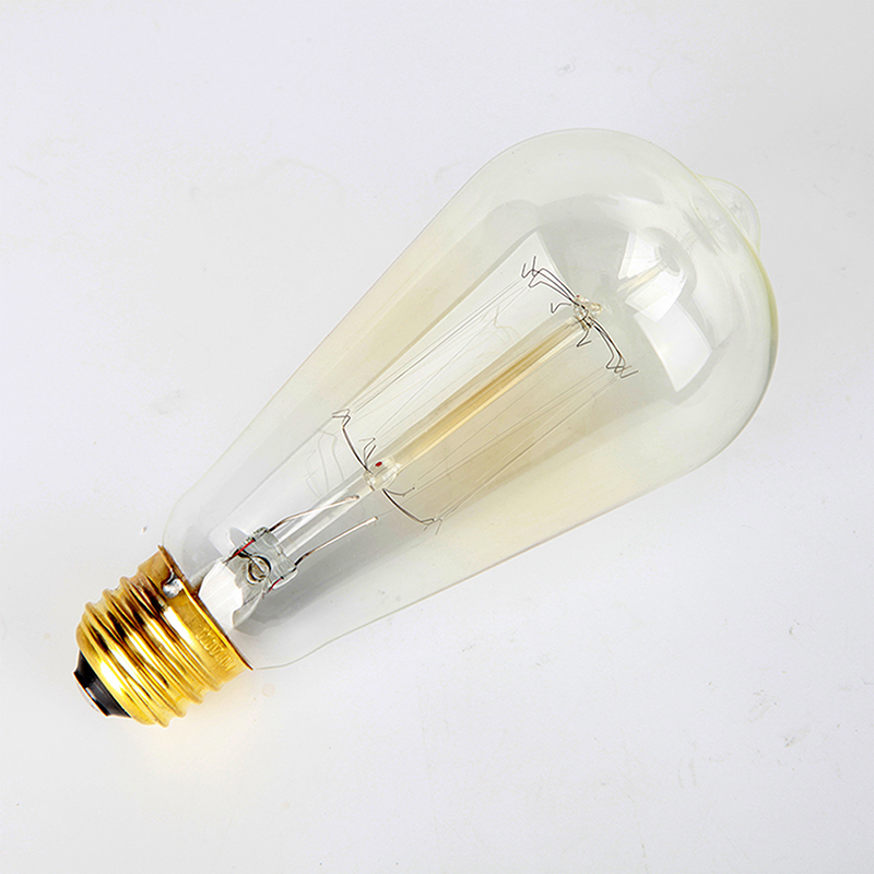 Pear Shape Edison Tungsten Squirrel Cage Filament Vintage Antique Light Bulb E27 ST64, Set of 4