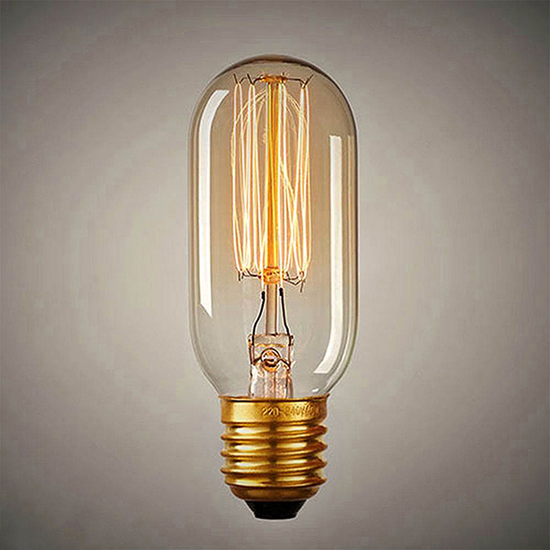 Tubular, Radio Edison tungsten squirrel cage filament vintage antique Light Bulb E27 T45, Set of 2