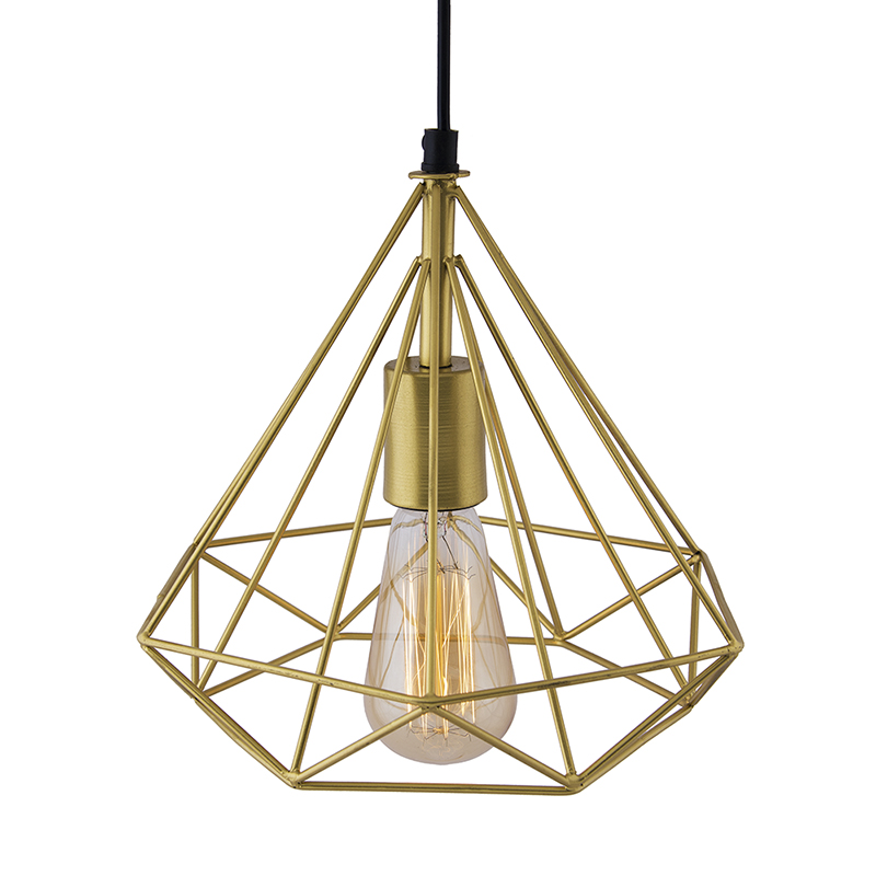 Golden Edison Filament Hanging DIAMOND Caged, E27 Holder,Ceiling Light for LED/Filament Bulb, Decorative, Urban Retro Style, Black Color Metal