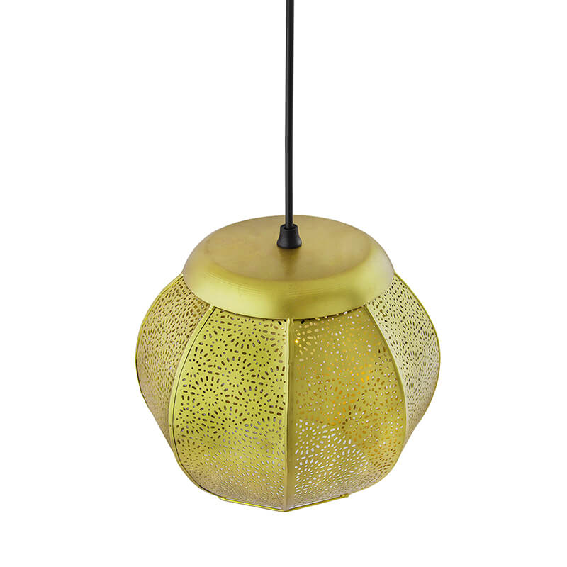 Classic Moroccan Golden Hanging Lamp, Antique Light