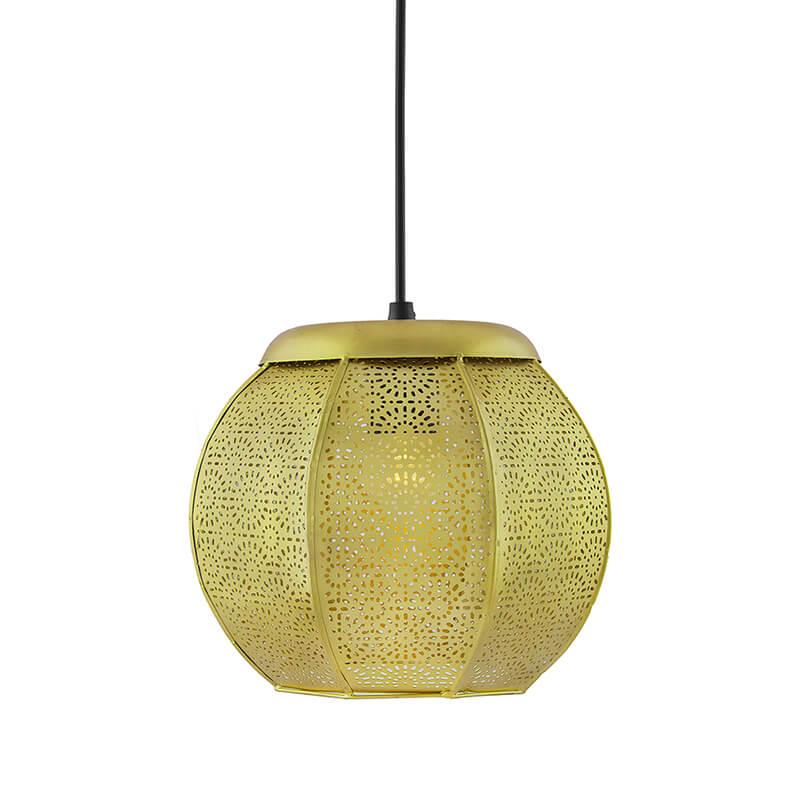 Classic Moroccan Golden Hanging Lamp, Antique Light