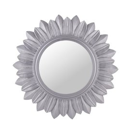 Sunburst Decorative Wooden Handcarved Wall Mirror, Elegant Silver