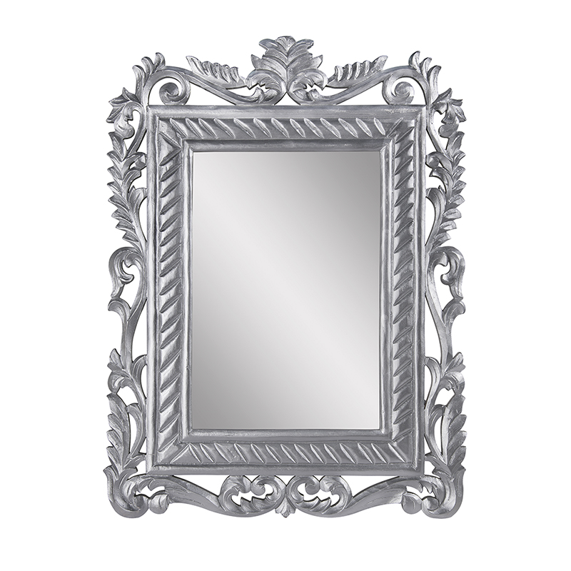 French Carved Royal Vintage Decorative Wooden Wall Mirror, Elegant Antique Silver