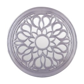 Round Floral carved Wooden wall mirror, Royal Antique Vintage Mirror, Classic Silver