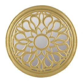 Round Floral carved Wooden wall mirror, Royal Antique Vintage Mirror, Classic Gold