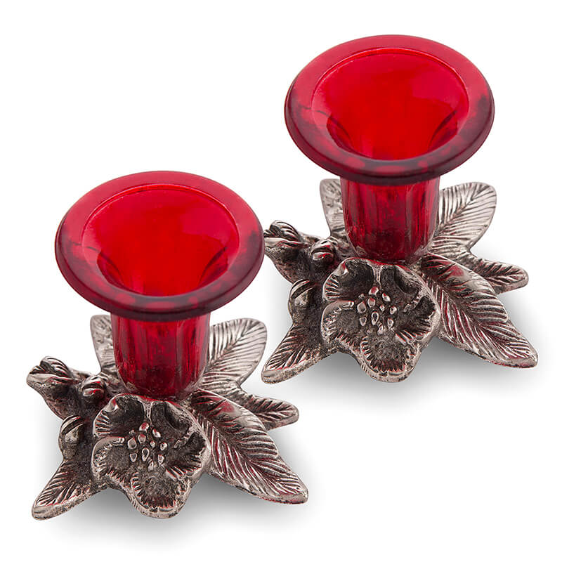 Antique Candle Stand Grapevine, Diya Holder, Set of Two, Red
