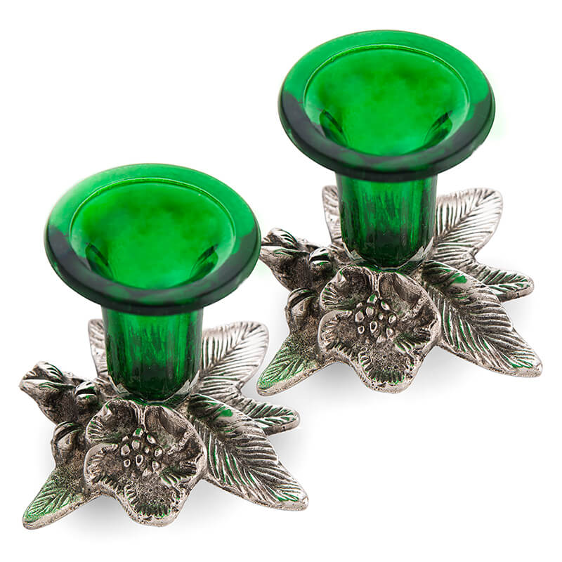 Antique Candle Stand Grapevine, Diya Holder, Set of Two, Green