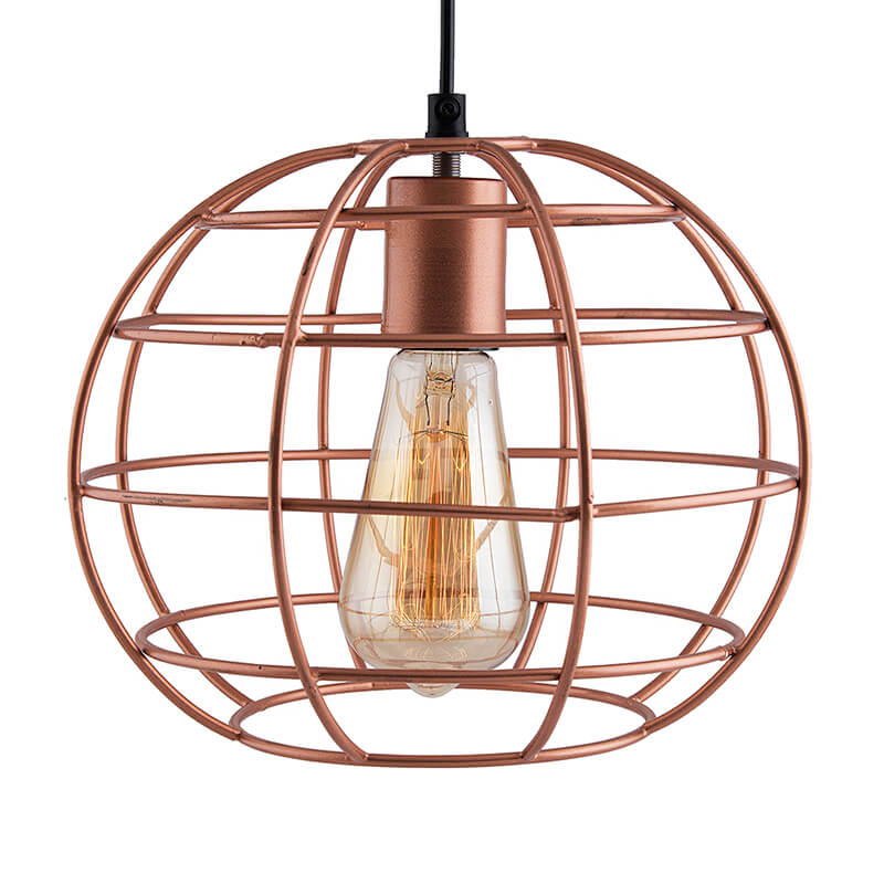 Copper Edison Filament Hanging Classic Sphere, Rose Gold, E27 Hanging Ceiling Light for LED/Filament Bulb, Decorative Urban Retro Lighting