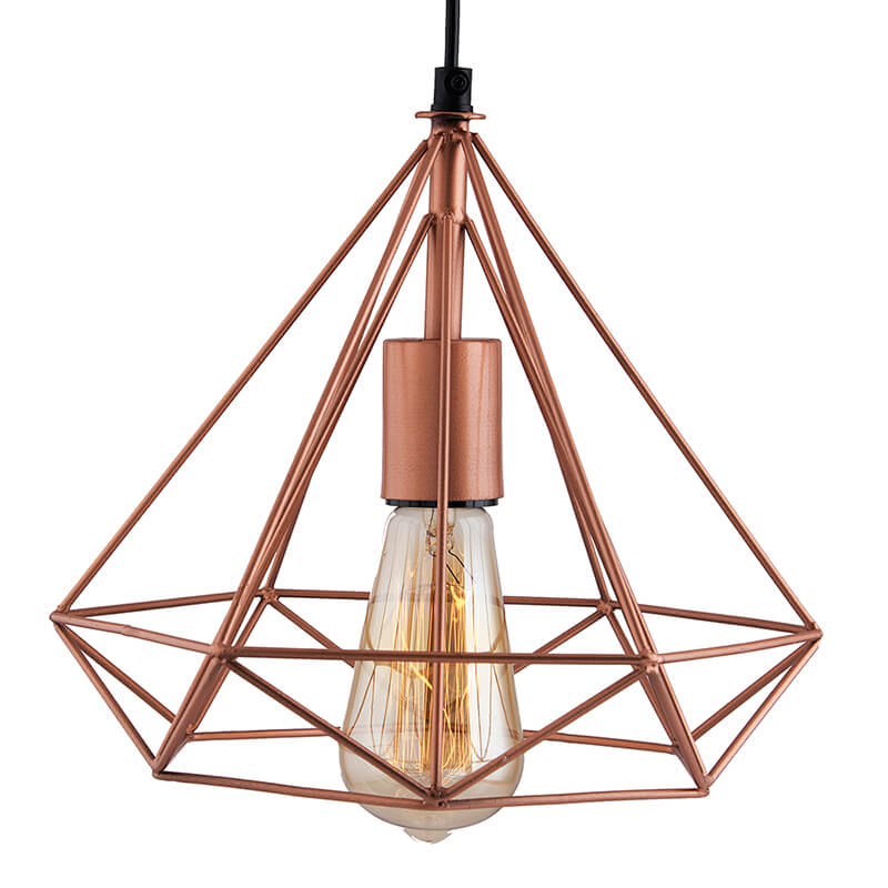 Copper Edison Filament Hanging DIAMOND Caged, E27 Holder,Ceiling Light for LED/Filament Bulb, Decorative, Urban Retro Style, Black Color Metal