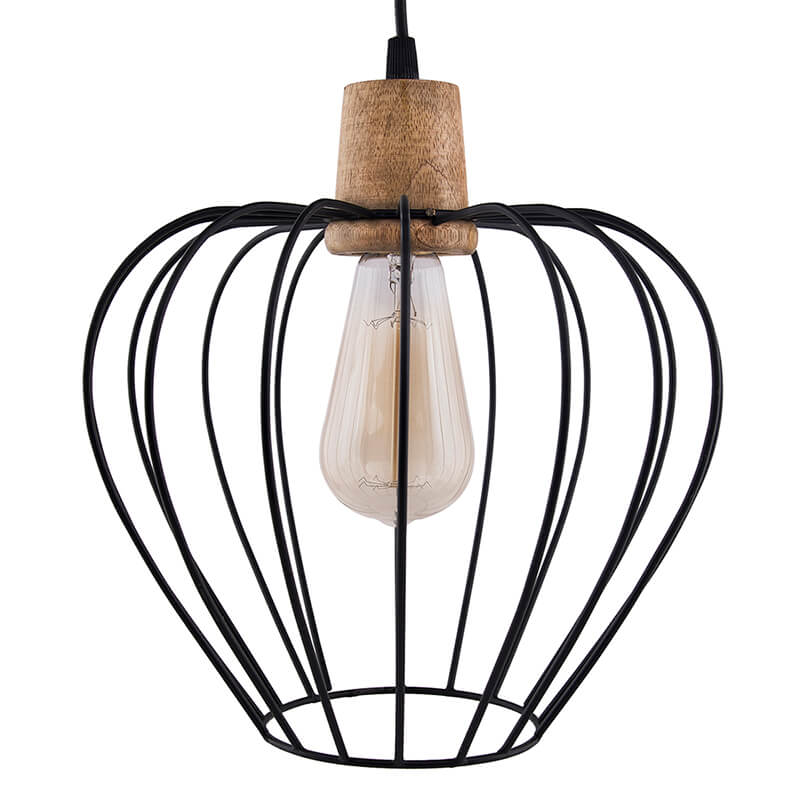 Industrial Loft Black Metal Chimney Cage Wood Art Pendant, Hanging Ceiling Lights, Edison Vintage Light