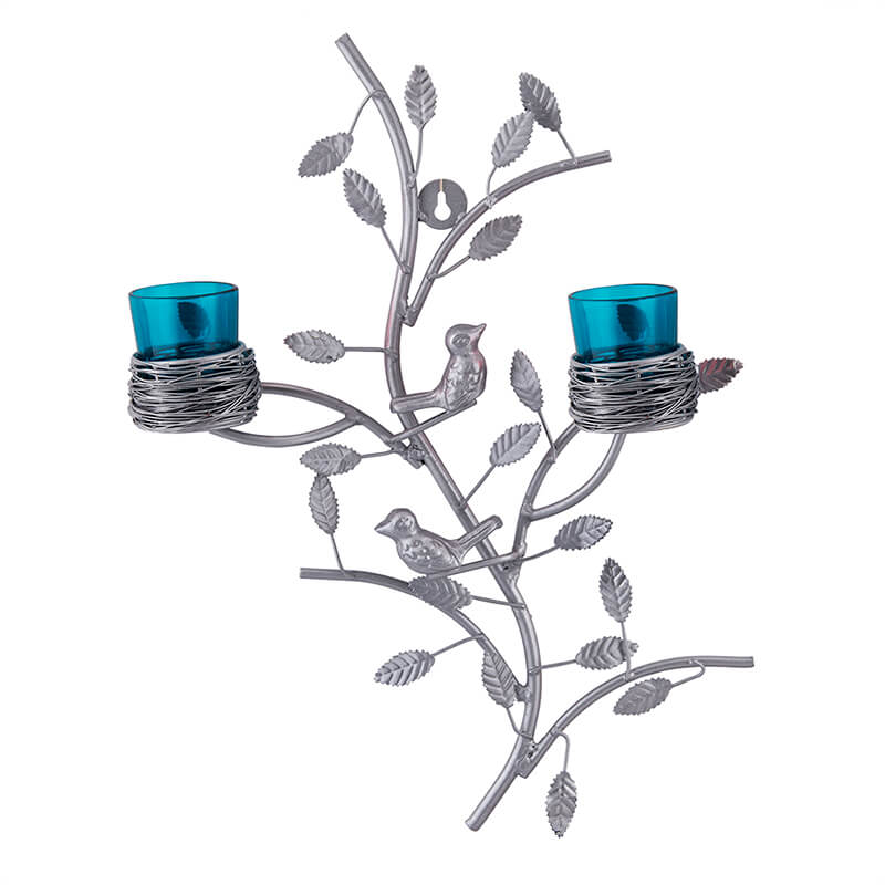 Silver Tree with Bird Nest Votive Stand Turquoise, Wall Candle Holder and Tealight Candles