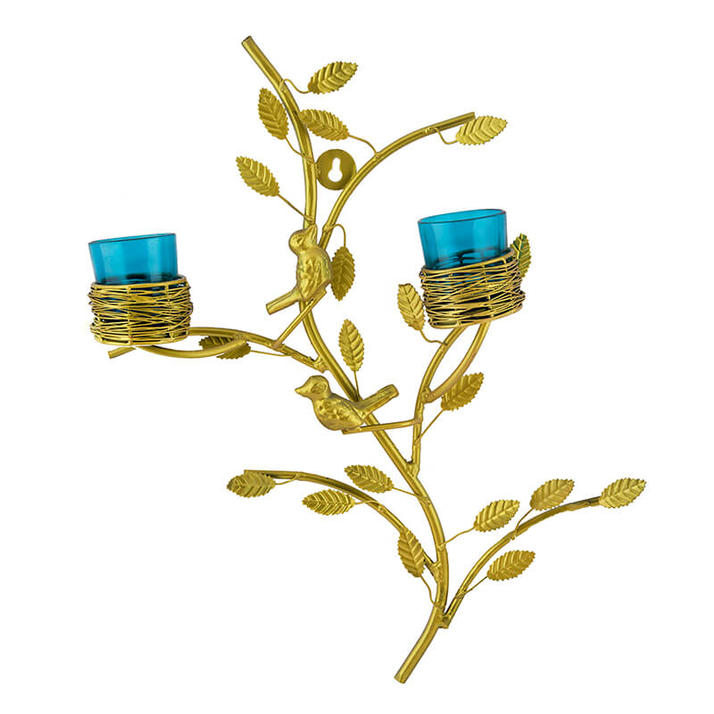Golden Tree with Bird Nest Votive Stand Turquoise, Wall Candle Holder and Tealight Candles