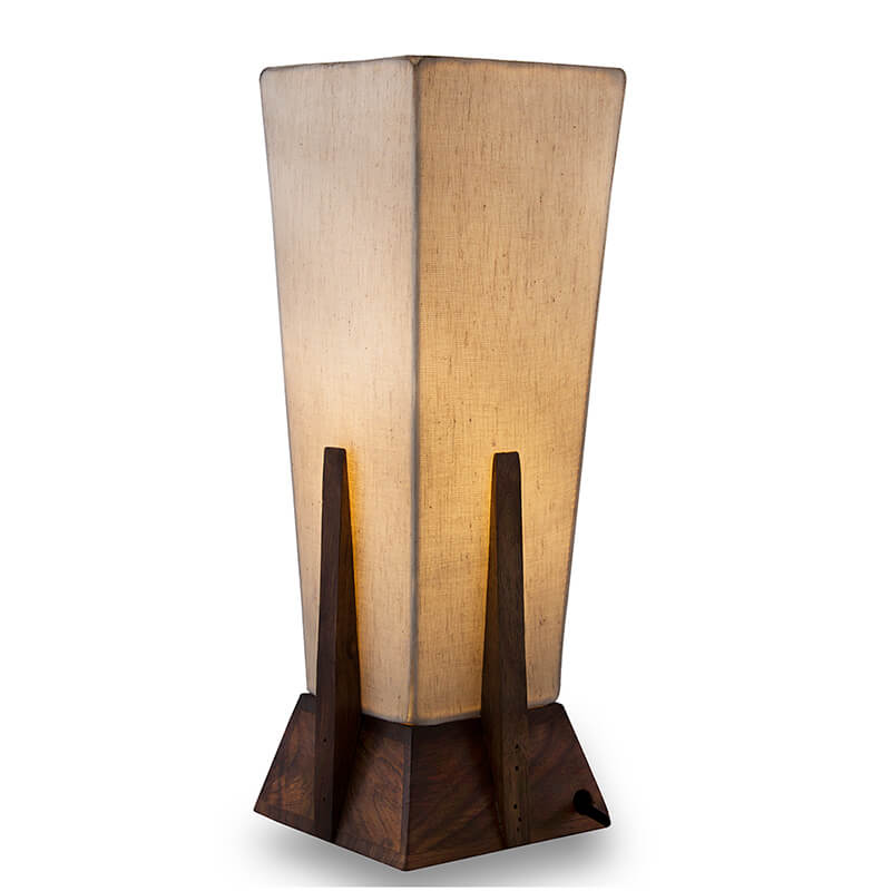 Bedside Table Lamp, Retro Style Sheesham Wood Pyramid Table Lamp With Khadi Fabric Shade