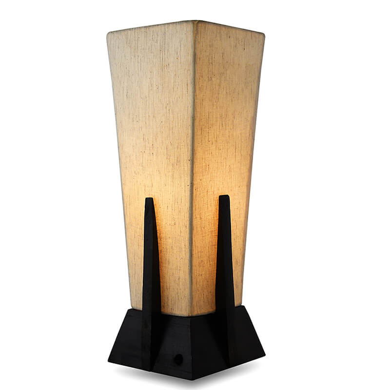 Bedside Table Lamp, Retro Style Walnut Wood Finish Pyramid Table Lamp With Khadi Fabric Shade