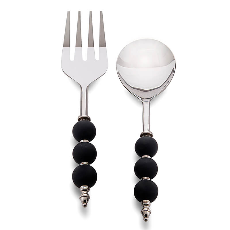Noodle,Pasta Server and Serving Spoon Set of 2, Stainless Steel with Black Ceramic Bead Handle