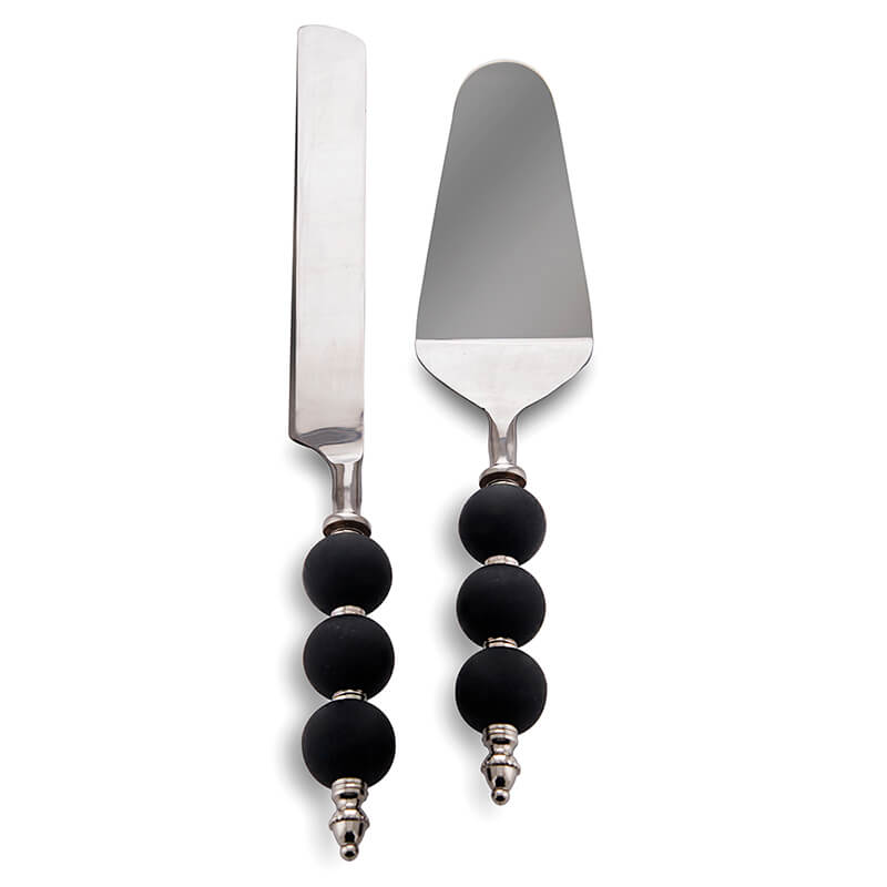 Cake Knife and Pie Server Set of 2, Stainless Steel with Black Ceramic Bead Handle