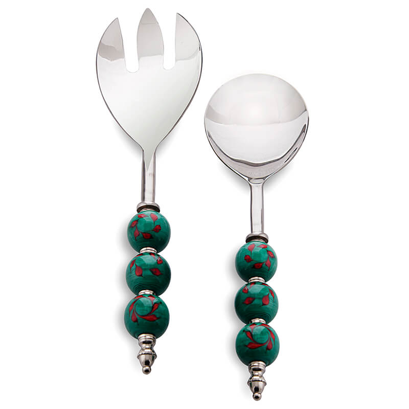 Salad Server Fork and Spoon Set of 2, Stainless Steel with Royal Green and Red Climber