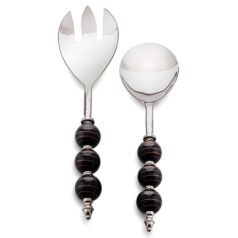 Salad Server Fork and Spoon Set of 2, Stainless Steel with Black-Golden Beads Handle