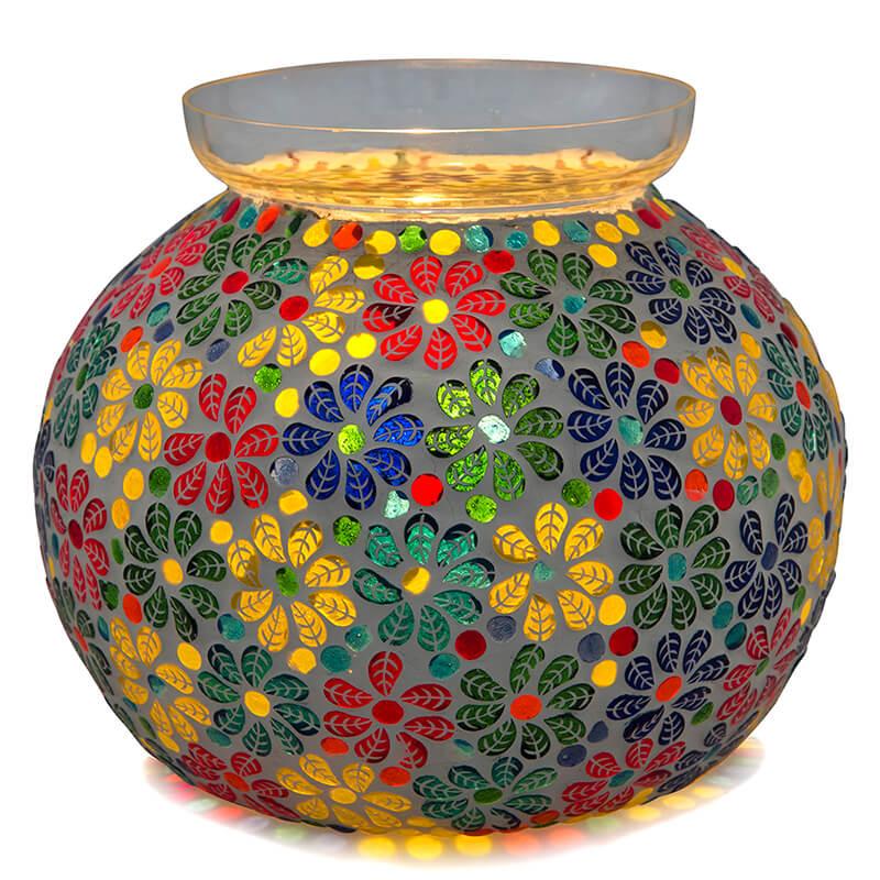 Persian Mosaic Leafy Glass Table Lamp, Desk Bedside Lamp Multicolor Light