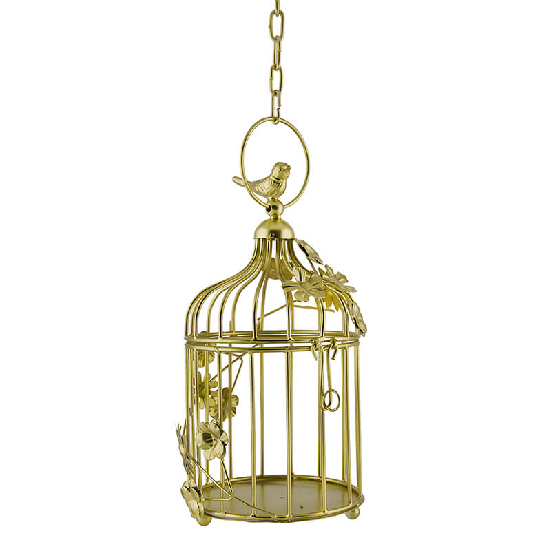 Golden Bird Cage with Floral Vine Small Single, with Hanging Chain