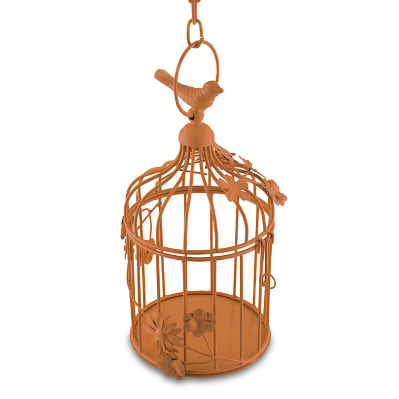 Copper Bird Cage with Floral Vine Small Single, with Hanging Chain