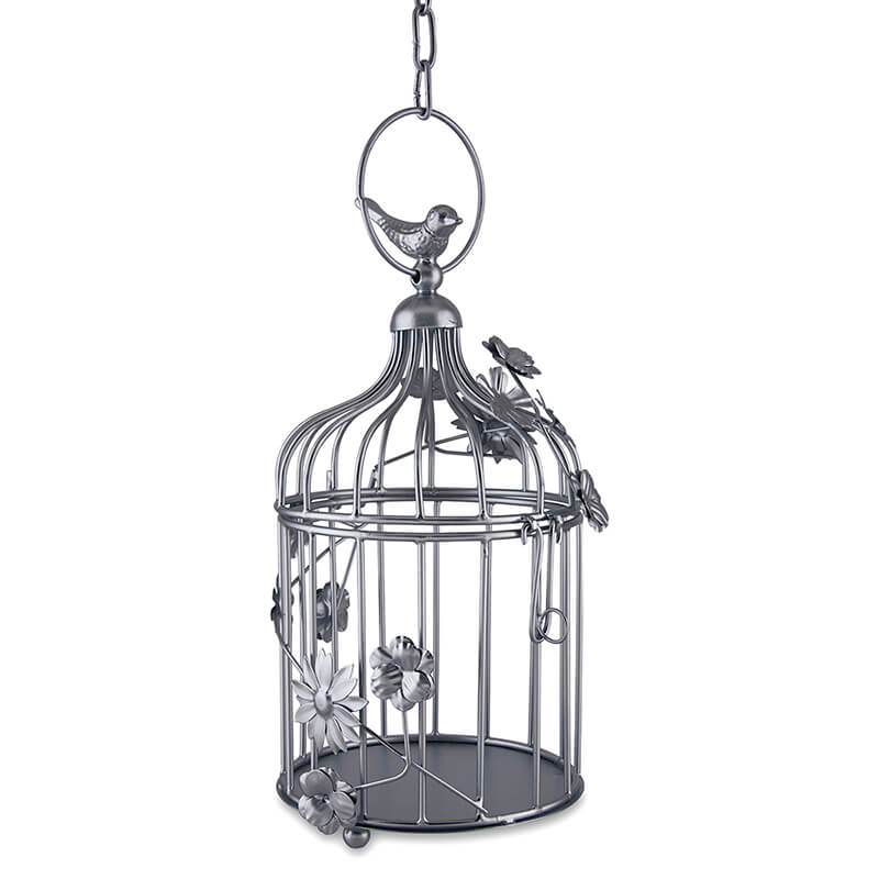Silver Bird Cage with Floral Vine Small Single, with Hanging Chain