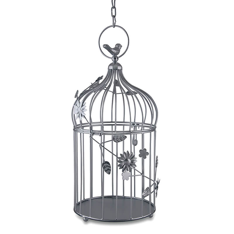 Silver Bird Cage with Floral Vine Large Single, with Hanging Chain