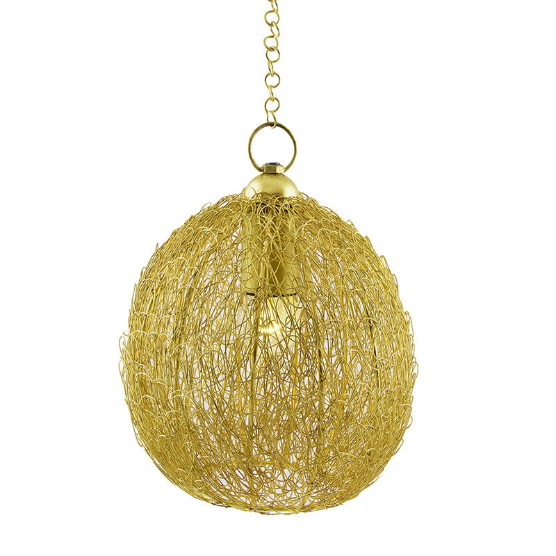 Classic Twisted Wire Round Hanging Pendant Light, Golden Hanging Fixture Lamp
