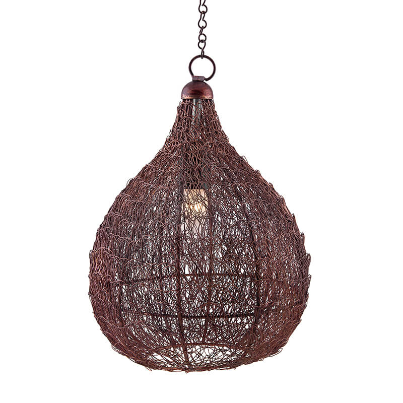 Classic Twisted Wire Crown Hanging Pendant Light, Antique Copper Hanging Fixture Lamp
