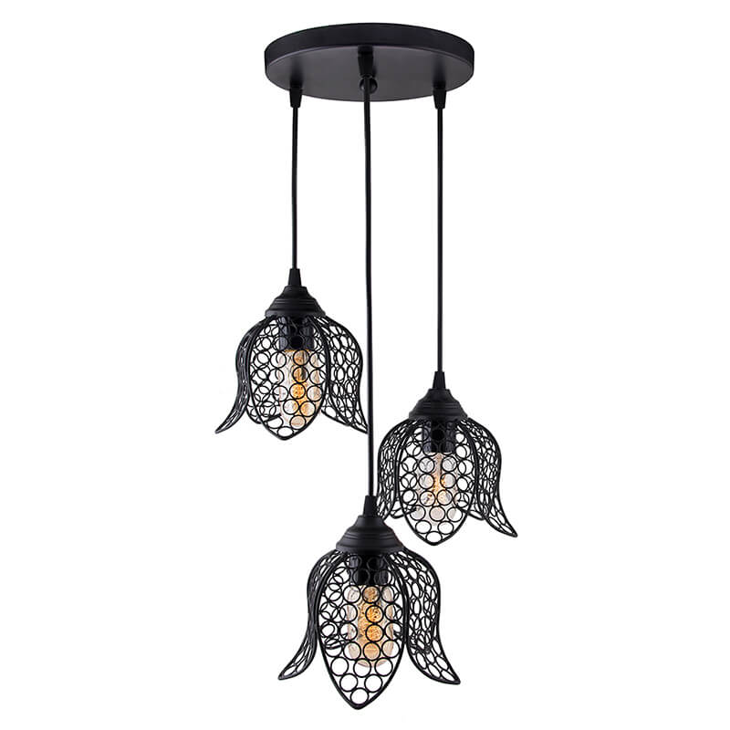 3-Lights Round Cluster Chandelier Black Lotus Hanging Pendant Light with Braided Cord