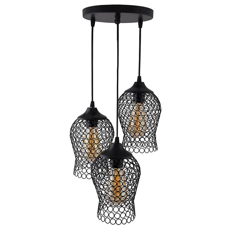 3-Lights Round Cluster Chandelier Black Chimney Hanging Pendant Light with Braided Cord
