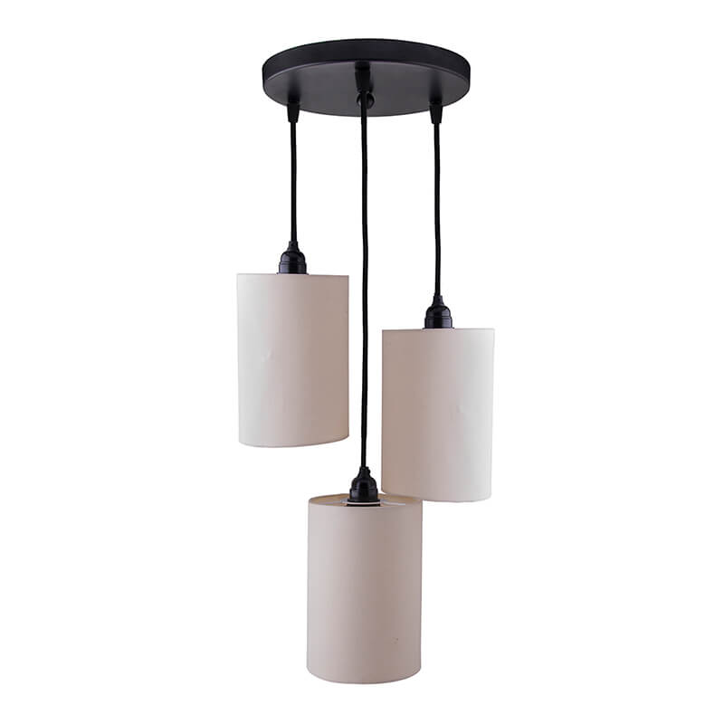 3-Lights Round Cluster Chandelier Beige Shade Hanging Pendant Light with Braided Cord
